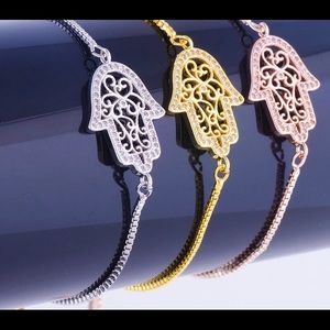 Jewelry - Gold Plated CZ Hamsa Bracelet